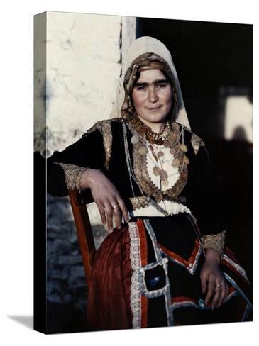 Woman Poses in the National Costume of Crete-Maynard Owen Williams-Stretched Canvas Print