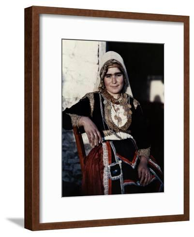 Woman Poses in the National Costume of Crete-Maynard Owen Williams-Framed Art Print