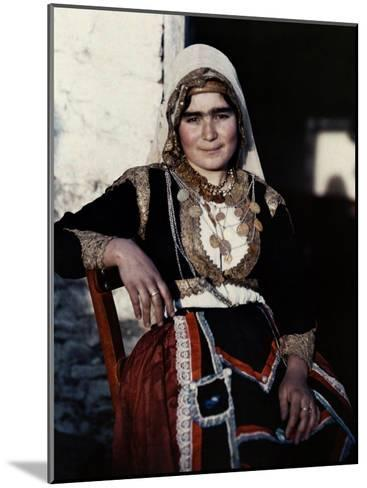 Woman Poses in the National Costume of Crete-Maynard Owen Williams-Mounted Photographic Print