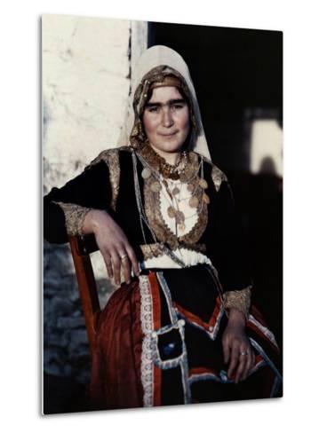 Woman Poses in the National Costume of Crete-Maynard Owen Williams-Metal Print