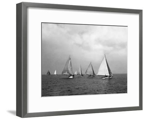 View of Oyster Dredgers Sailing across the Bay-Jacob Gayer-Framed Art Print