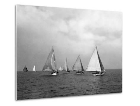View of Oyster Dredgers Sailing across the Bay-Jacob Gayer-Metal Print