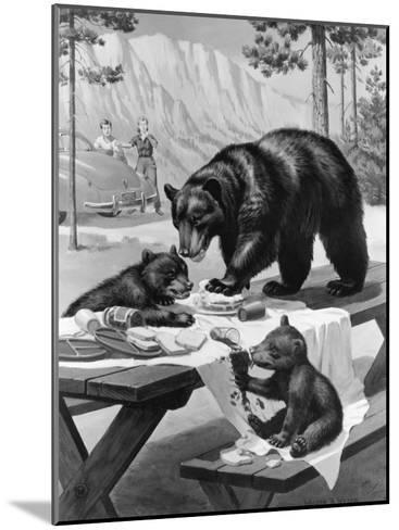 Black Bear Mother and Her Cubs Raid a Picnic, People Hide Behind Car-Walter Weber-Mounted Photographic Print