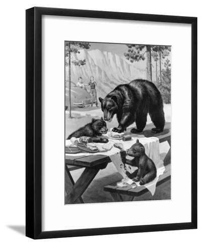 Black Bear Mother and Her Cubs Raid a Picnic, People Hide Behind Car-Walter Weber-Framed Art Print
