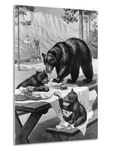 Black Bear Mother and Her Cubs Raid a Picnic, People Hide Behind Car-Walter Weber-Metal Print