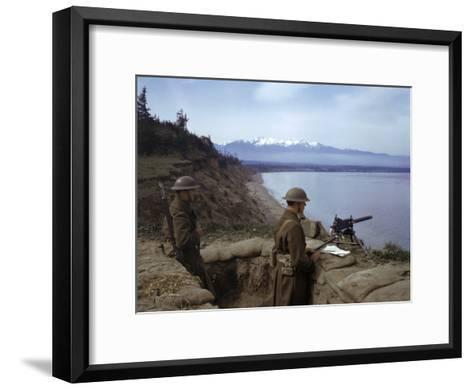 American Soldiers Guard the Coast with a Machine Gun in a Trench-Joseph Baylor Roberts-Framed Art Print