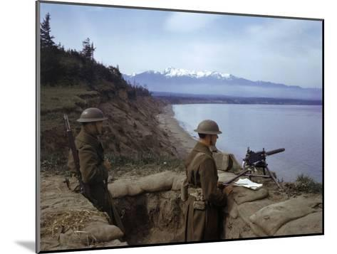 American Soldiers Guard the Coast with a Machine Gun in a Trench-Joseph Baylor Roberts-Mounted Photographic Print