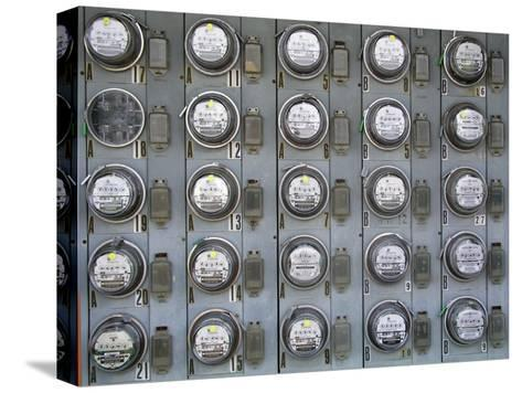 Array of Electric Power Meters at a Boat Dock-Greg Dale-Stretched Canvas Print