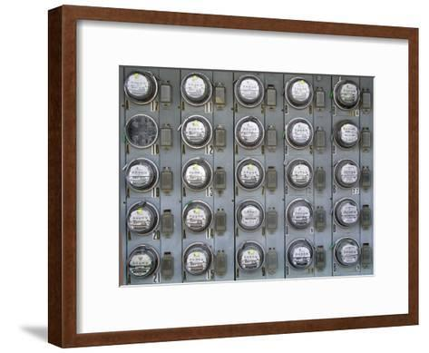 Array of Electric Power Meters at a Boat Dock-Greg Dale-Framed Art Print
