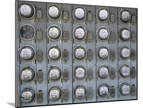 Array of Electric Power Meters at a Boat Dock-Greg Dale-Mounted Photographic Print