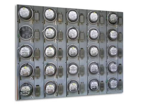 Array of Electric Power Meters at a Boat Dock-Greg Dale-Metal Print