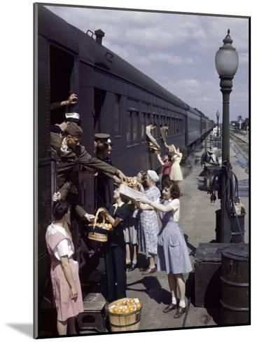 Farm Women Give Gifts of Food to Service Men Traveling by Train-B^ Anthony Stewart-Mounted Photographic Print