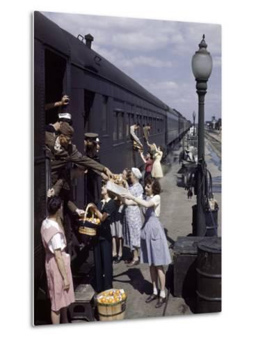 Farm Women Give Gifts of Food to Service Men Traveling by Train-B^ Anthony Stewart-Metal Print