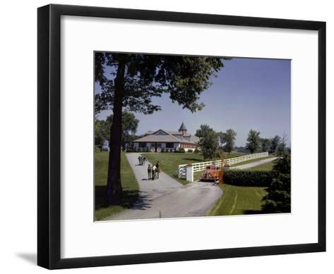 View of the Grounds at Calumet Farm, Where Race Horses are Held-B^ Anthony Stewart-Framed Art Print