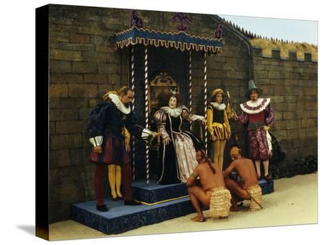 Actors Perform a Scene from a Play About the Lost Colony-Jack Fletcher-Stretched Canvas Print