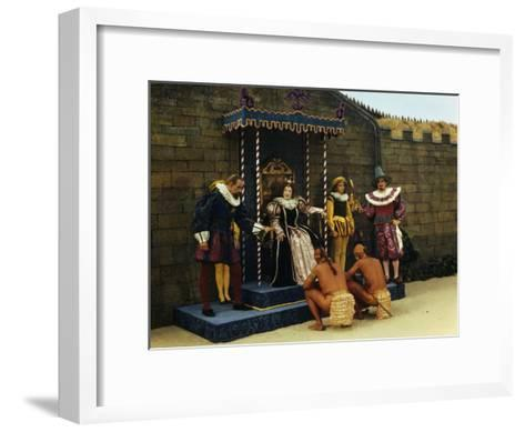 Actors Perform a Scene from a Play About the Lost Colony-Jack Fletcher-Framed Art Print