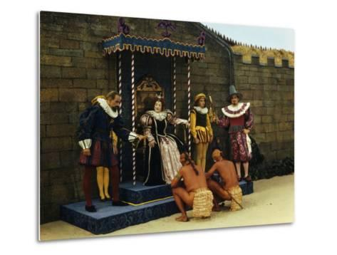 Actors Perform a Scene from a Play About the Lost Colony-Jack Fletcher-Metal Print