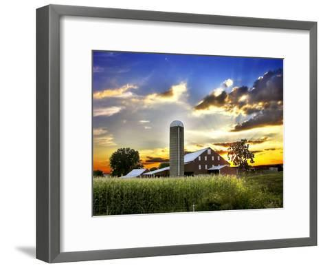 Silo, Barn, and Cornfield of an American Farm Backlit at Sunset-White & Petteway-Framed Art Print