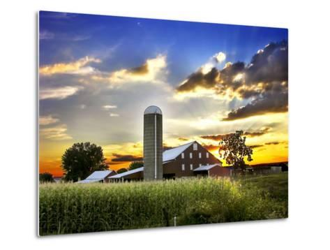 Silo, Barn, and Cornfield of an American Farm Backlit at Sunset-White & Petteway-Metal Print