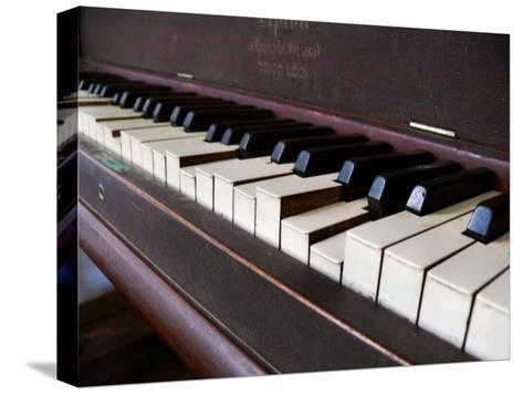 Keys on an Old Piano Show their Age as their Action Has Deteriorated-White & Petteway-Stretched Canvas Print