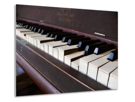 Keys on an Old Piano Show their Age as their Action Has Deteriorated-White & Petteway-Metal Print