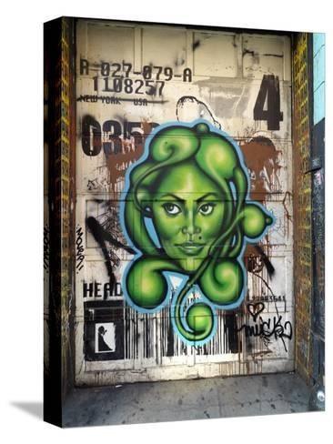 Graffiti on the Wall of a Building in New York's Lower East Side-xPacifica-Stretched Canvas Print