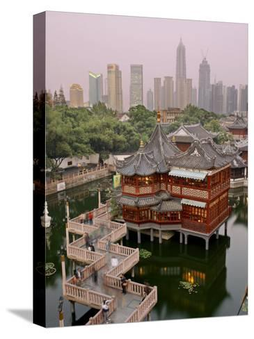 Traditional Tea House in Yu Yuan, a Famous Historical Destination-xPacifica-Stretched Canvas Print