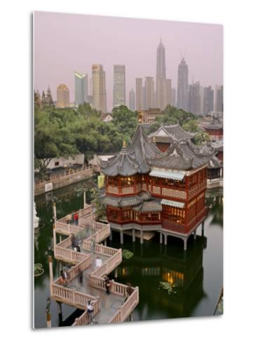 Traditional Tea House in Yu Yuan, a Famous Historical Destination-xPacifica-Metal Print