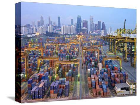 Night View of the Port of Singapore Authority (Psa) in Singapore-xPacifica-Stretched Canvas Print