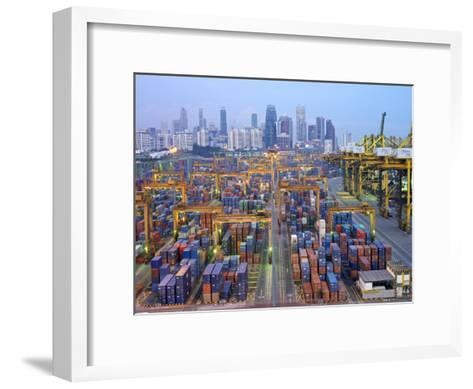 Night View of the Port of Singapore Authority (Psa) in Singapore-xPacifica-Framed Art Print