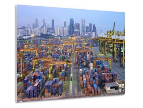 Night View of the Port of Singapore Authority (Psa) in Singapore-xPacifica-Metal Print
