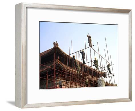 Workers Climb Scaffolding on the Palace Roof in the Forbidden City-xPacifica-Framed Art Print