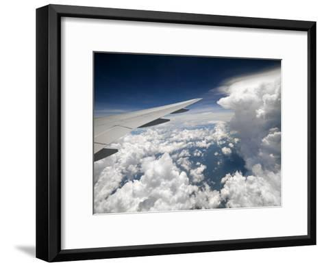 View of Clouds, Airplane Wing and the Sun from Window-xPacifica-Framed Art Print
