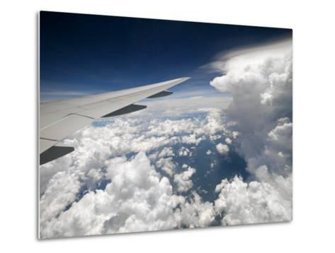 View of Clouds, Airplane Wing and the Sun from Window-xPacifica-Metal Print
