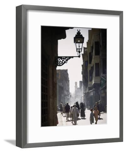 Oriental Quarter in Cairo Is Bustling with People-B^ Anthony Stewart-Framed Art Print