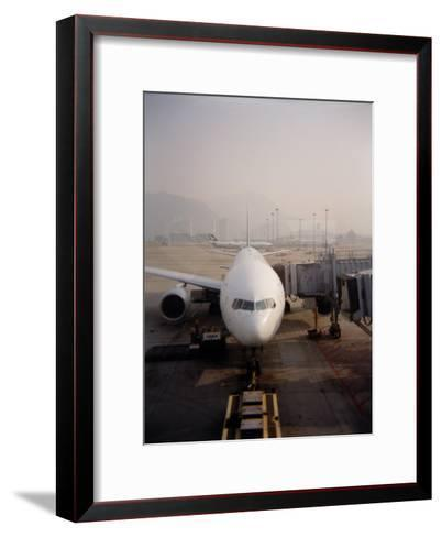 Jumbo Airplane Parked on the Tarmac at the Airport in Hong Kong-xPacifica-Framed Art Print