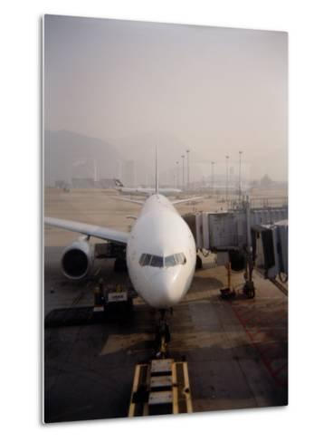Jumbo Airplane Parked on the Tarmac at the Airport in Hong Kong-xPacifica-Metal Print