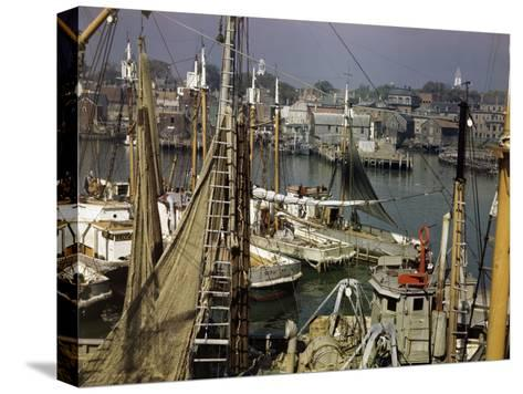 Commercial Fishing Boats of All Sizes Crowd the Town's Busy Harbor-B^ Anthony Stewart-Stretched Canvas Print