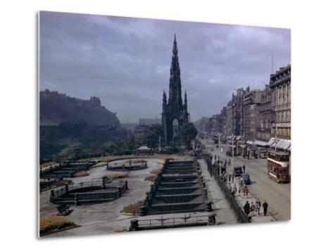 Pedestrians and Trams Pass Gardens and Memorial on Princes Street-B^ Anthony Stewart-Metal Print