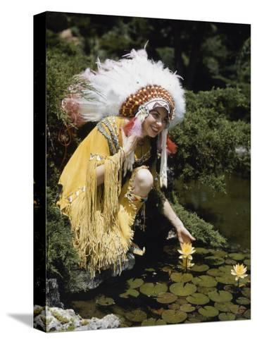 Miss Oklahoma of 1940 Poses in American Indian Attire-B^ Anthony Stewart-Stretched Canvas Print