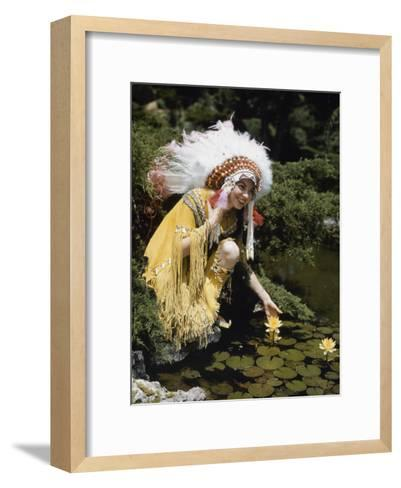 Miss Oklahoma of 1940 Poses in American Indian Attire-B^ Anthony Stewart-Framed Art Print