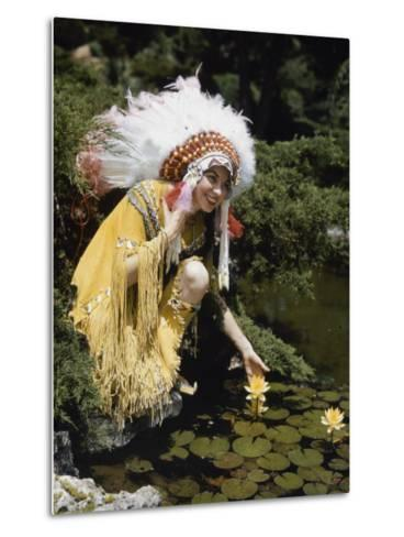Miss Oklahoma of 1940 Poses in American Indian Attire-B^ Anthony Stewart-Metal Print