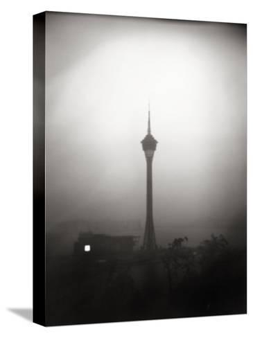 Black and White Portrait of the The Tv Tower of Macau-xPacifica-Stretched Canvas Print