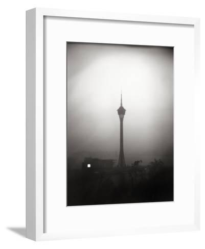 Black and White Portrait of the The Tv Tower of Macau-xPacifica-Framed Art Print