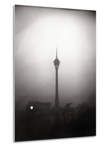 Black and White Portrait of the The Tv Tower of Macau-xPacifica-Metal Print