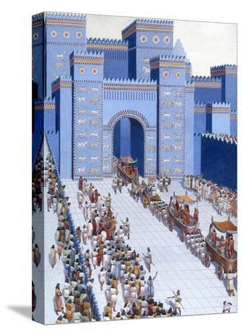 Men Parade Statues of Gods into Babylon Through Ishtar Gate-H.M. Herget-Stretched Canvas Print