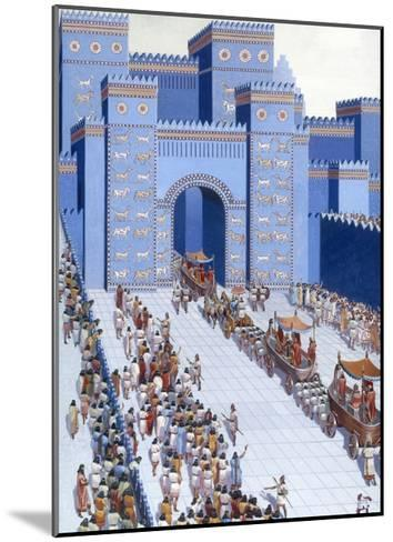 Men Parade Statues of Gods into Babylon Through Ishtar Gate-H.M. Herget-Mounted Giclee Print