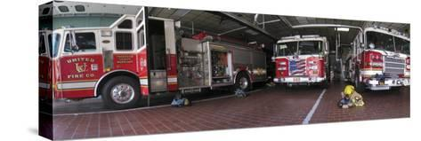 Fire Engines Ready for Call at a Station in Frederick, Maryland-Greg Dale-Stretched Canvas Print