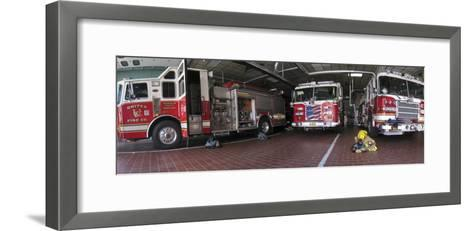 Fire Engines Ready for Call at a Station in Frederick, Maryland-Greg Dale-Framed Art Print
