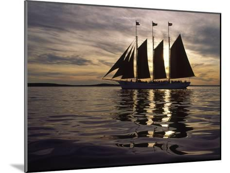 Three Masted Schooner under Sail at Sunset-Michael Melford-Mounted Photographic Print